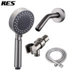 KES DP309-2 Bathroom Lavatory Three Function Handheld Shower Head with Extra Long Hose and Shower Arm Mount, Brushed Nickel