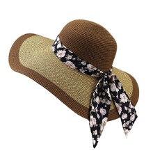 Korean Style Straw Hats Summer Sun Cap for Women Print Bowknot Band Dome Caps Lady Big Brim Beach Female Girls