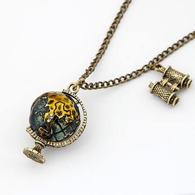 Long necklace for women vintage link chain globe pendant necklace long necklace for women vintage link chain globe pendant necklace statement jewelry collares bijoux collier mozeypictures Gallery