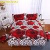Gorgeous 3d Big Rose Print 400TC Cotton Queen Size Bedding Set Of Duvet Cover Bed Sheet