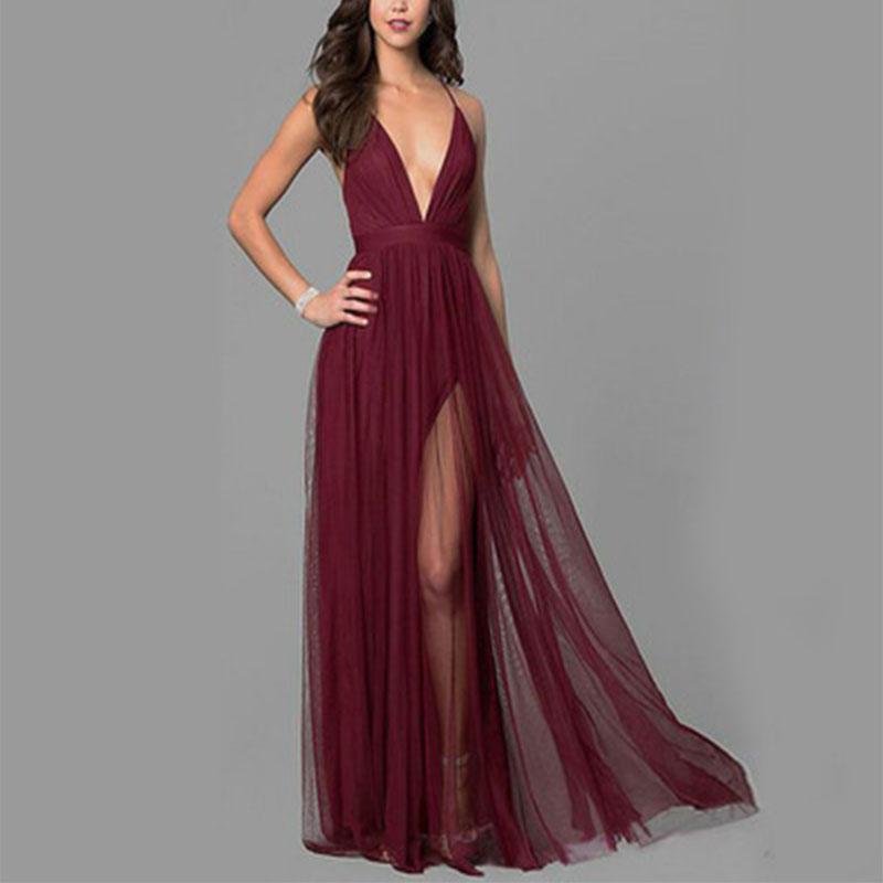 2019 Summer New Women's Red Wine Sewing Perspective Yarn Loose Sequins Deep V-Neck Women's Mesh Dress