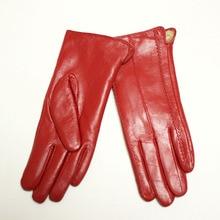Female Leather Gloves Multicolored Sheepskin Super Soft Velvet Lined Warmer Handguard Sheaths Free Shipping