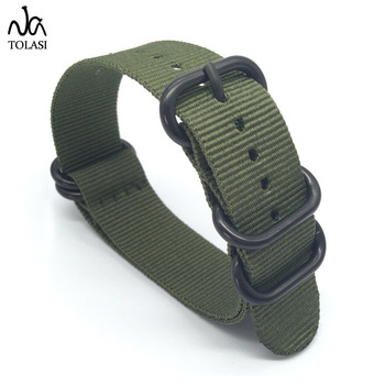 20 22 24mm Solid bracelet Army Green Military nato fabric Nylon Watch watchbands Woven Zulu Straps Bands Black Buckle belt 20mm