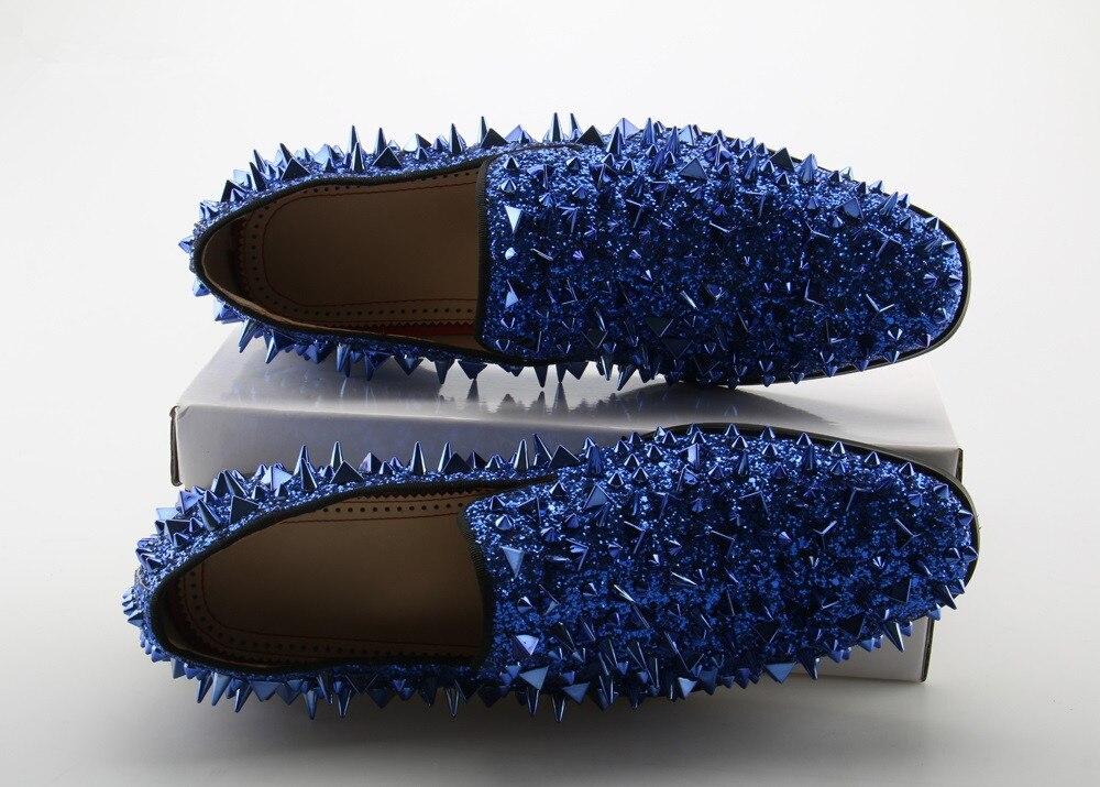 La Picture Glitter Noir Hommes 3 Chaussures Glissement Mode Appartements Occasionnels Sur 1 picture Rivet picture Mocassins Pointes De Mariage Or Bleu 2 rvvwYqExa