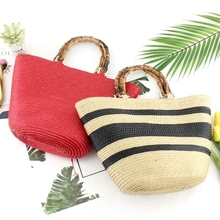 Ins Woven Straw Bags Women Casual Bamboo Handle Beach Bags Handbag Summer Holiday Woven Bag Shoulder Simple Wild Straw Bag Chic
