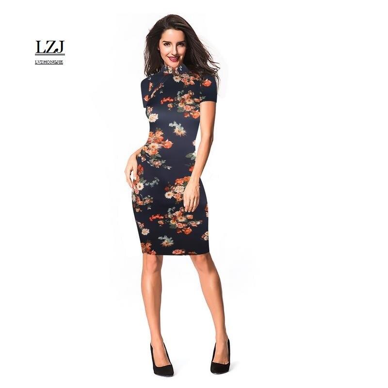 LZJ Retro Women's Summer Dresses vestidos Ladies Print ...