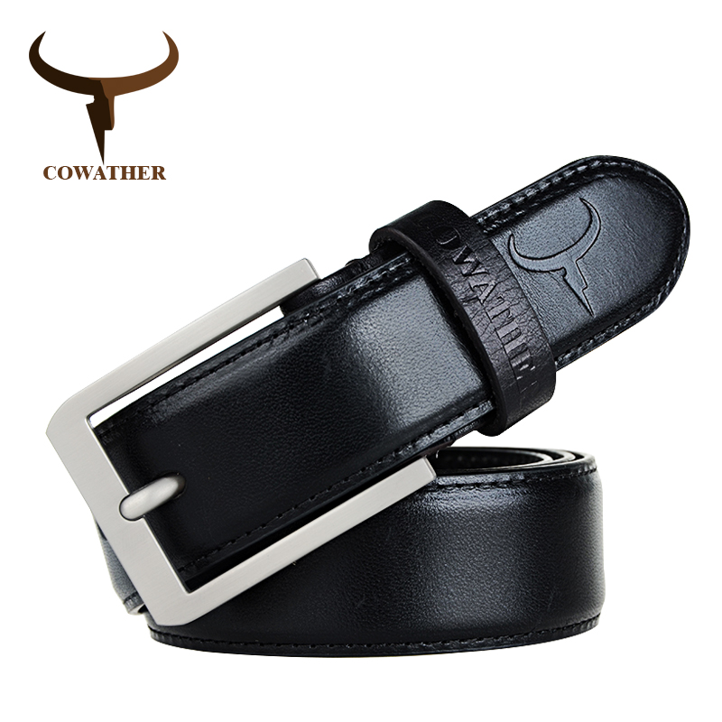 COWATHER luxury 100% top cow genuine leather strap men male belts vintage pin buckle belt good jeans cintos free shipping