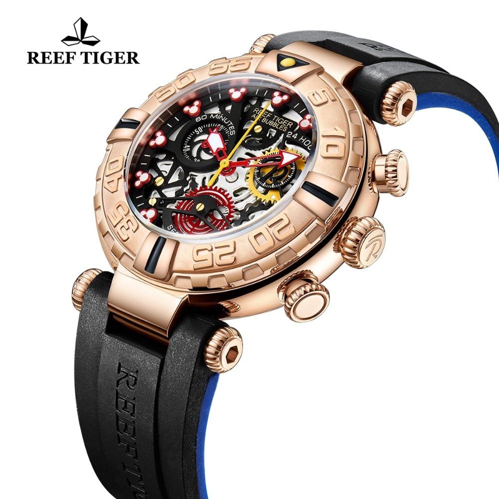 Relojes deportivos para hombre de marca Reef Tiger/RT cronógrafo oro rosa esqueleto relojes a prueba de agua reloj hombre masculino RGA3059 S-in Relojes deportivos from Relojes de pulsera    3