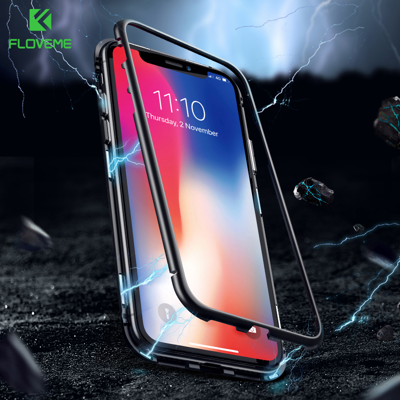 FLOVEME Anti-knock Magnetic Cases Für iPhone7 7 8 8 Plus Xs Xs Max XR X 9 H Gehärtetem glas Metallic Rahmen Transparent Fundas Capa
