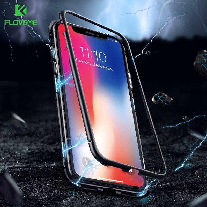 FLOVEME para iPhone 7 7 8 8 más Xs Max Xr X 9 H vidrio templado teléfono caso metálico marco transparente contraportada