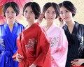 Мода Женщин Кимоно в Японском Стиле Халат Ночная Рубашка Платье Юката Халат Пижамы с Поясом