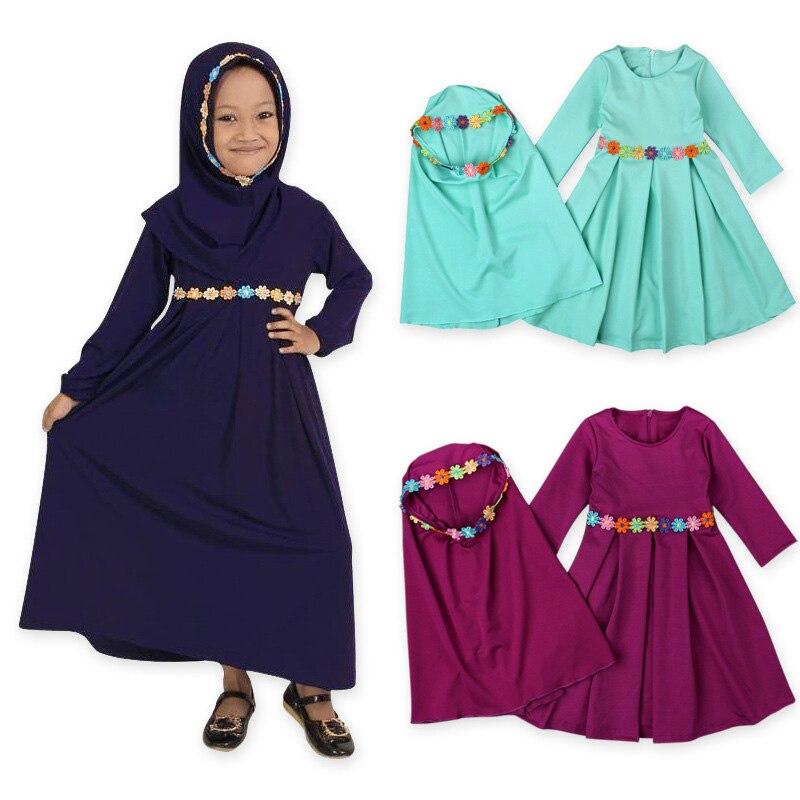 Girls Hijab+dress Floral Muslim Abaya Turkish Kaftan Islamic Traditional Costumes Dubai Arabic Malaysia New Year Outwear