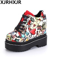 2017 High Top Girls New Casual Shoes Women 11cm Heels Pumps Fashion Lace Up Height Increasing