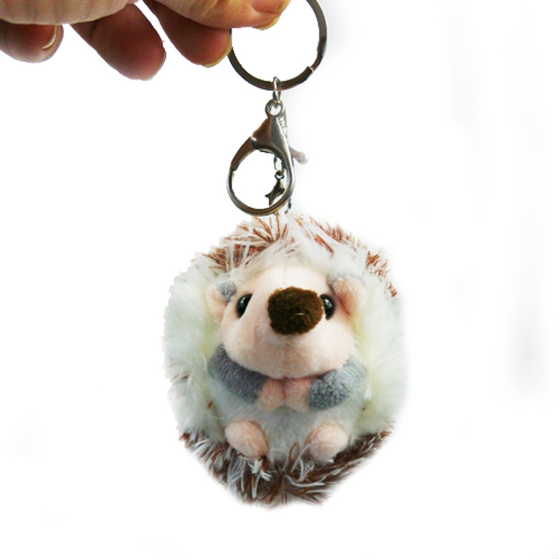 Mini Cute Little Hedgehog Keyrings Keychains Faux Rabbit Fur Pompom Fluffy Trinkets Car Handbag Pendant Key Chian Ring Holder