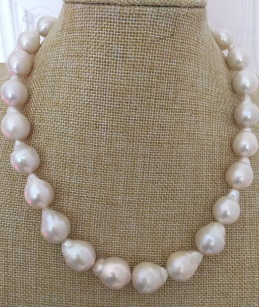 Necklace 14-15mm South Sea White Baroque Pearl Earrings YELLOW gold plating