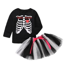 Emotion Moms Halloween Baby Girl Dress Suit Long Sleeve T-shirt Holiday Set