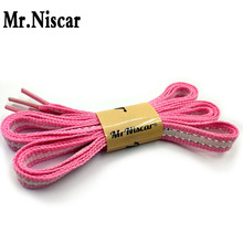 Mr.Niscar 1 Pair Silver Line Flat Shoelaces for Men Women Casual Shoes Polyester Shoelace Pink Silver White Striped Shoe Laces