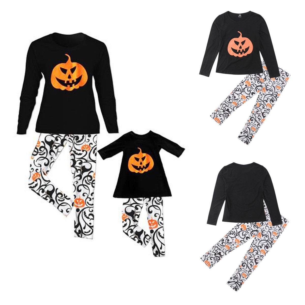 2018 kids adult family matching halloween pajamas sleepwear