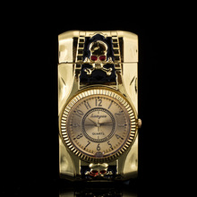 Skull modeling Clock Watch Quartz Lighter Compact  Butane Jet Torch Cigarette Cigar Straight Fire Lighter NO GAS Men Gift