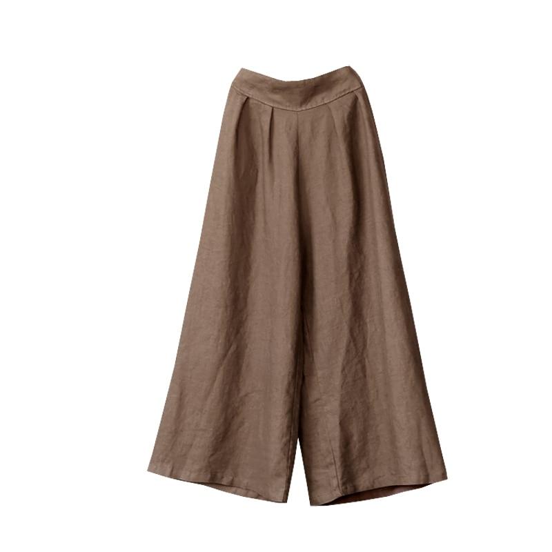 Summer Elastic Waist   Wide     Leg     Pants   2019 New Women Cotton Linen Vintage Loose Solid Color Full   Pants   Female Casual Trousers