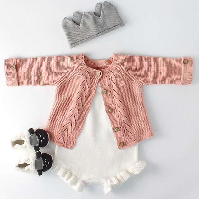 Spring Baby Girls Clothes Baby knitted Romper Set Newborn Baby Girl Cardigan Infant Boys Sweater Cotton Coat Baby Jumpsuit 1