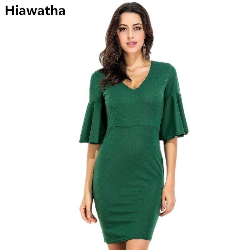 60c5667c7 Hiawatha mujeres calientes elegants color verde vestido de verano manga  corta flaco Vestidos sexy v cuello señoras vestidos l8143 en Vestidos de La  ropa de ...
