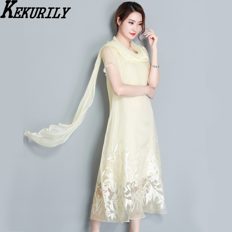 Natural silk organza long dress women summer 2018 embroidery floral party dresses Chinese style vintage plus size robe clothes