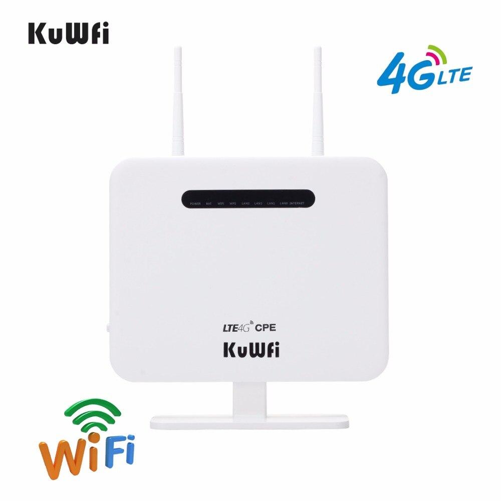 KuWFi разблокирована 4G LTE CPE Мобильный маршрутизатор с LAN порт Поддержка sim-карты Портативный 300 Мбит/с беспроводной маршрутизатор с 2 внешними а...