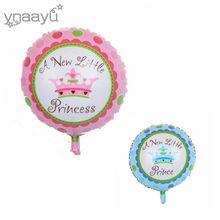 Ynaayu 1pcs 18inch Prince Or Princess Helium Balloon A Little For Newborn Baby Boy Girl Birthday Party Decoration