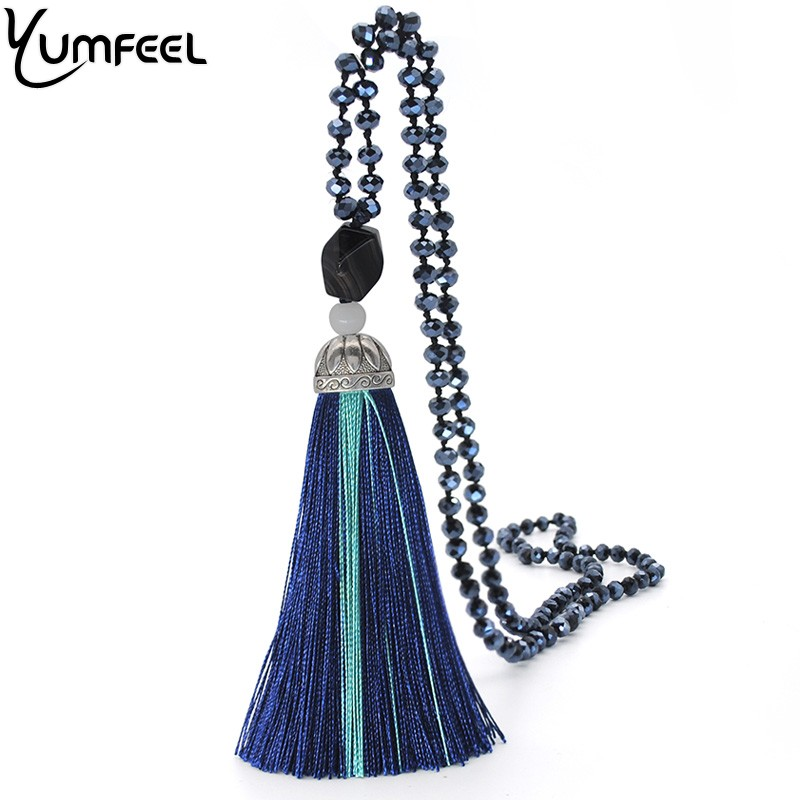Yumfeel 2018 New Tassel Pendant Necklace Faceted Glass Crystal Beads Long Necklace Women Jewelry Gifts