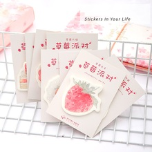 Buy 8pcs Pink Strawberry sticky notes Cookie drink post memo decoration Planner marker it sticker Stationery School supplies F493 directly from merchant!