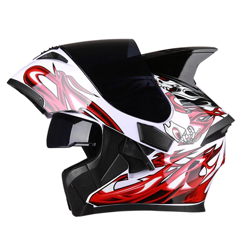 Motorcycle helmet casco de moto cafe racer helmet Flip up Full Face dual lens visor capacetes