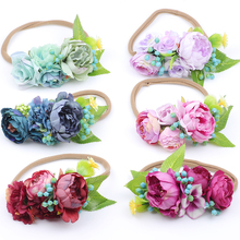 2018 New Arrivals Newborn Flower Headbands Photography props Girls Fabric Peony Wildflower Headwear Hair Accessories