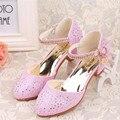Novo 2016 Crianças Princesa Sapatos Sandálias Meninas Brilhante broca de Salto Alto Vestido Sapatos Sapatos de Festa Para Meninas de dança sapatos size28-38