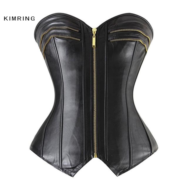 Kimring Steampunk Gótico do Espartilho das Mulheres de Couro Com Zíper Parte Superior Do Espartilho Sexy Espartilhos e Corpetes Overbust Corset