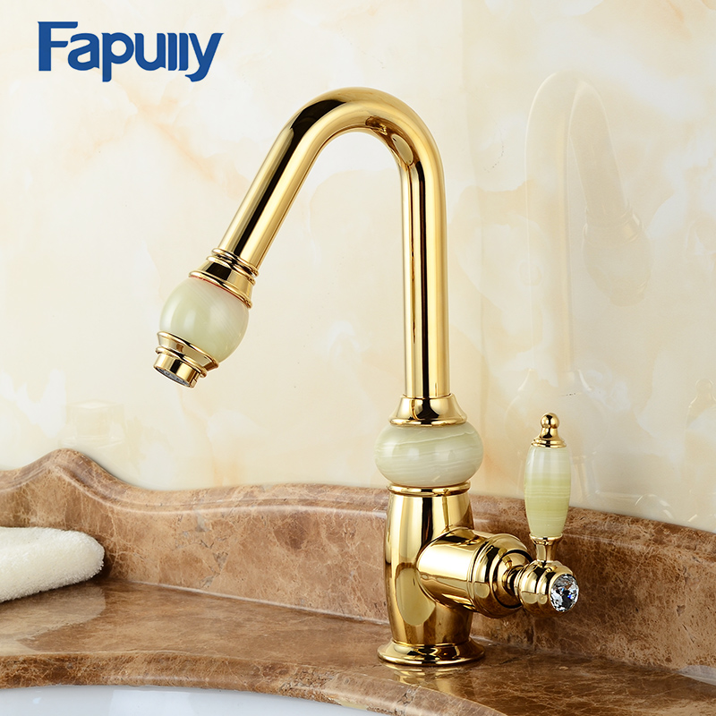 Fapully Single Handle Basin Gold Bathroom Faucet Pull Out Sink Faucets Water Mixer Tap Double Color Jade Handle Deck Mounted rose gold brass bathroom pull out sink faucet with natural jade marble basin mixer torneira single hole handle water tap