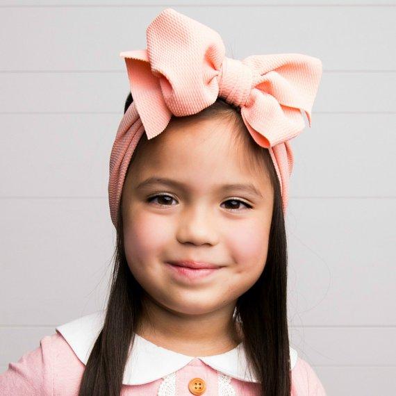 7 Inch Big Bow Headbands Solid Large Hair Bows Girls Elastic Turban Head Wraps Kids Top Knot Hairband DIY Hair Accessories
