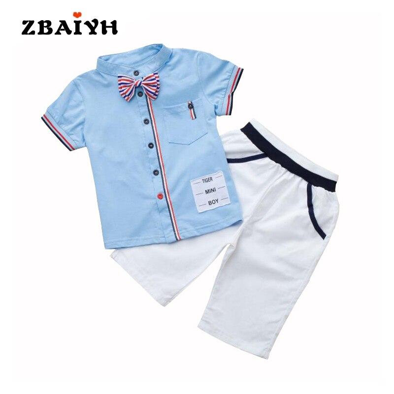 ילדים צעירים באיכות גבוהה מזדמן נערי קיץ בגדי סטים בני חולצה + מכנסיים קצרים שרוול קצר חליפות חליפת ילד 2 יחידות משלוח חינם