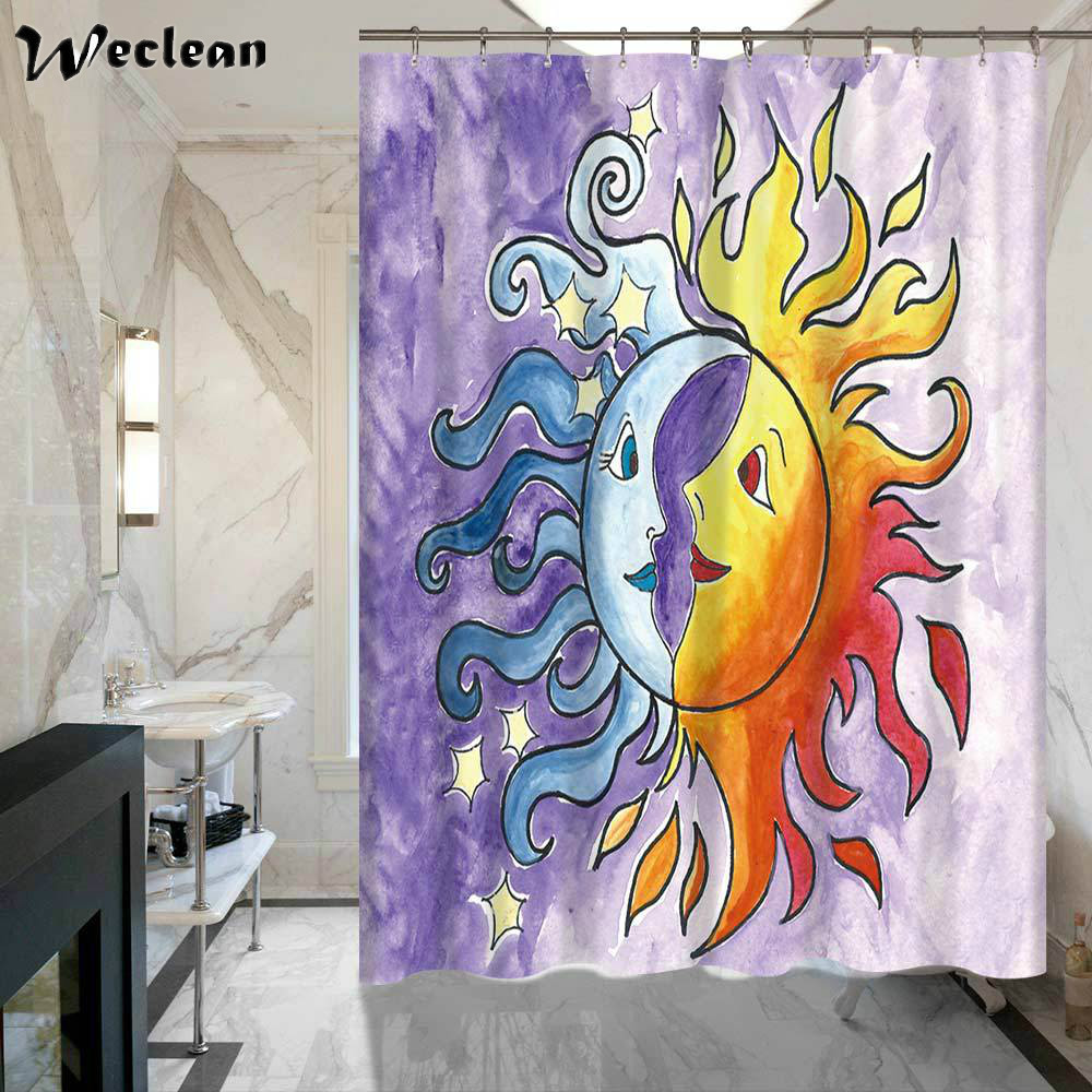 Weclean 1 Piece Abstract Painting Shower Curtains Sun Moon Printed Bath Curtain Water Resistant Polyester For Bathroom In From Home