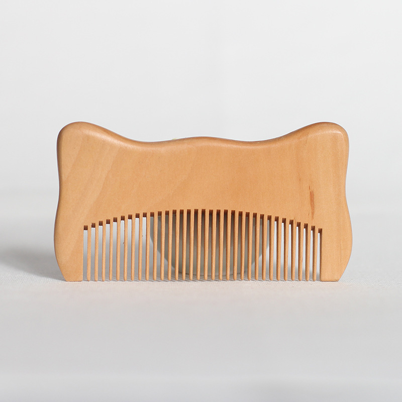 NAPSE L36 Épaissir bois naturel de pêche peigne de Bande Dessinée en bois peigne Portable peigne de santé cadeau impression