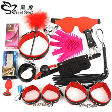 Black Wolf 16PCS/Set New Leather bondage Set Restraints Adult Games Sex Toys for Couples Woman Slave Game SM Sexy Erotic Toys chastity lock 1 pair metal plush bdsm sexy bondage set restraints sex for couples woman slave sm sexy erotic toy handcuff lock