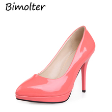 Bimolter  Fashion Sweet Women Pumps 8 Color 10cm High Heels Sexy Patent PU Leather Shoes Platform concise Elegant Shoes PXSA011 fashion women s pumps with pu leather and color block design