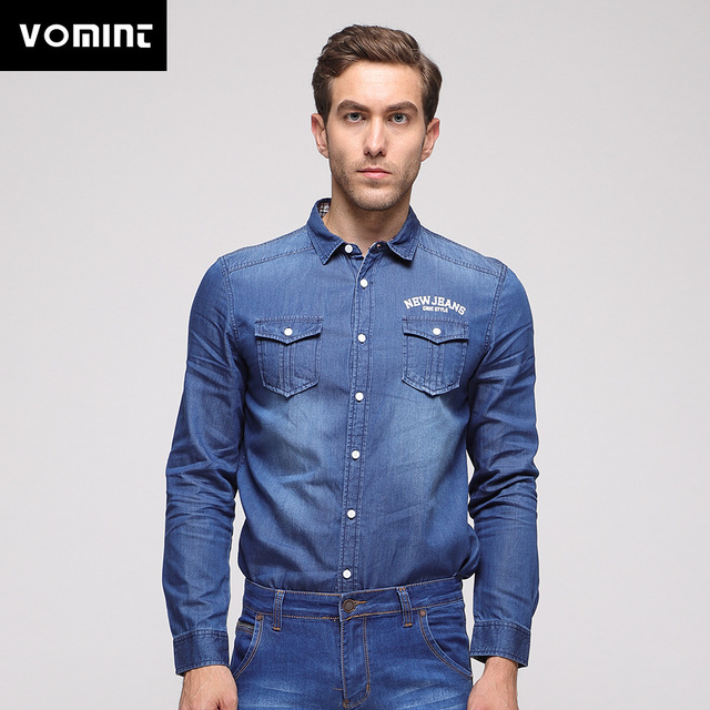 a98f6377f7 Vomint 2018 Fashion Men Denim Shirts Spring 100% Cotton Embroidery Denim  Shirts Hot Sale High Street Fashion for Male J6QIS271