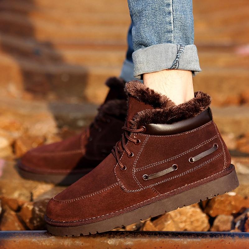2017 Big Size font b Men b font Fur Boots Hot Fashion Leather font b Men