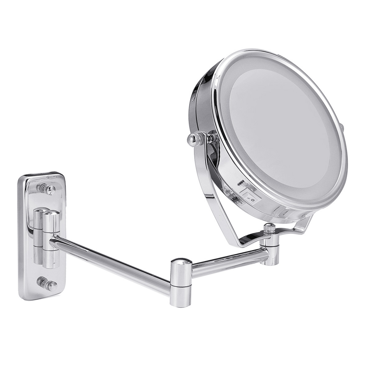 "6"" Diameter Bathroom Shaving Makeup Mirror With LED Lights Wall Mount Two Sides Extendable Rotate Cosmetic Mirror Magnifying 7X 4"