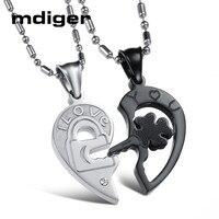 Mixed 3 Pairs/LOT Titanium Steel Necklace Simple Lovers Key Puzzle Shape Pendant Chokers Long Chain Pendant Necklace