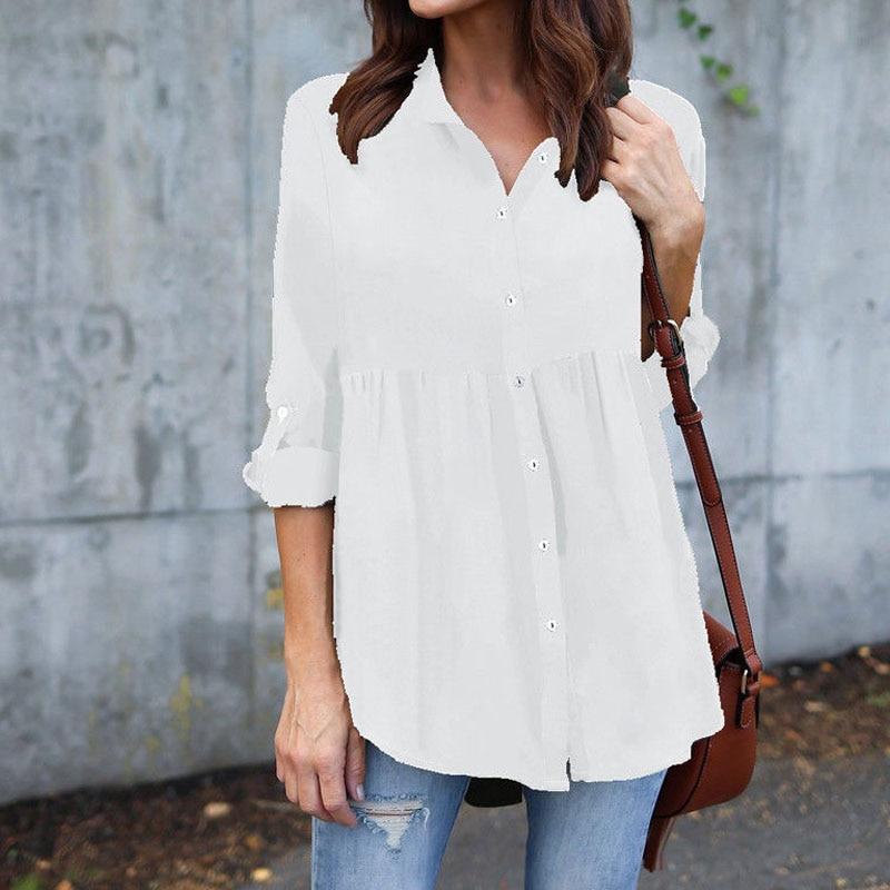 Ladies Long Sleeve Tunic Blouse Shirt
