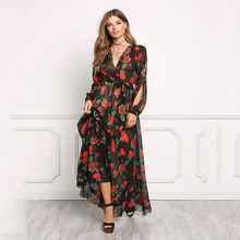 MILLYN Summer Maxi Dress Women Floral Print Dress V-Neck Side Split Sexy Long Tulle Gauze Flower Floral Dress PLUS Size S-XXXL