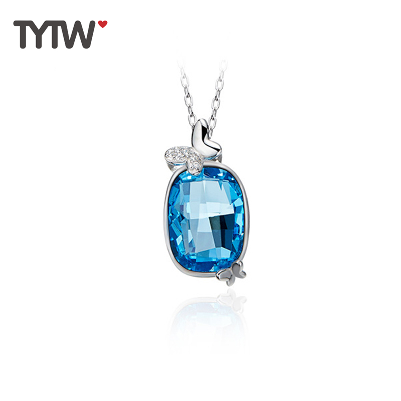 TYTW fashion jewelry Crystals From Austrian S925 Sterling Silver women's pendant necklace gifts for women necklaces fashion 2018 women bag large luxury pu leather women bags designer handbags high quality ladies bag brands new tote shoulder bag