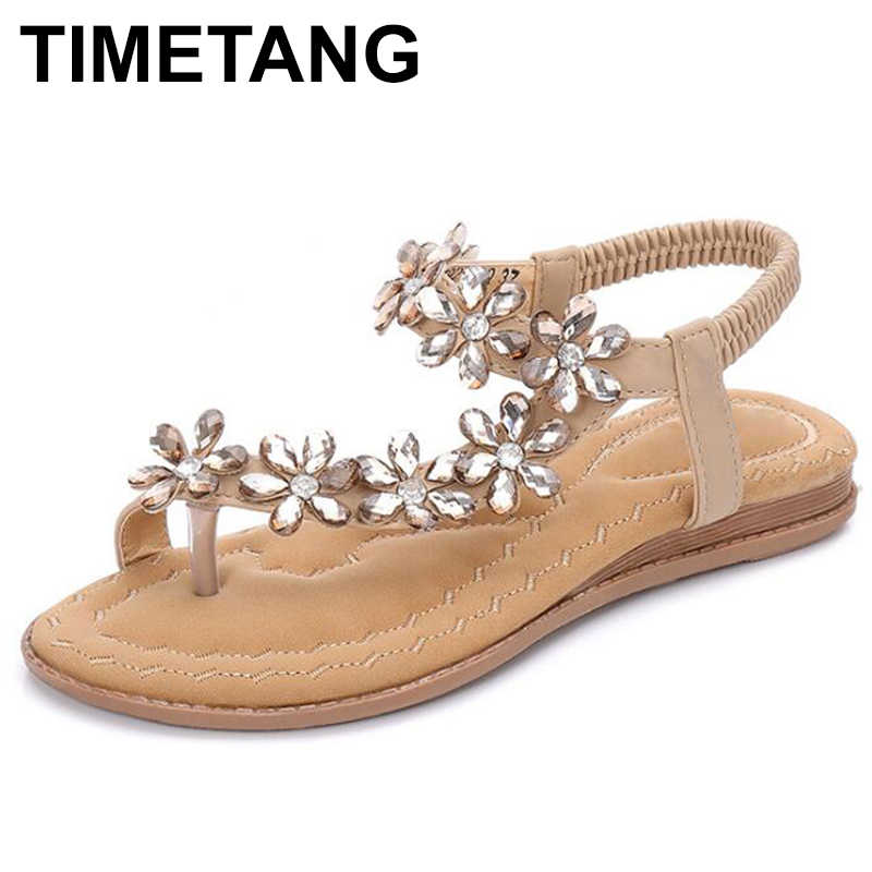 TIMETANG 2019 ボヘミアン花女性ビーチサンダル 2019 夏のラインストーン女性フリップフロップフラット女性の靴サイズ 35- 41E484